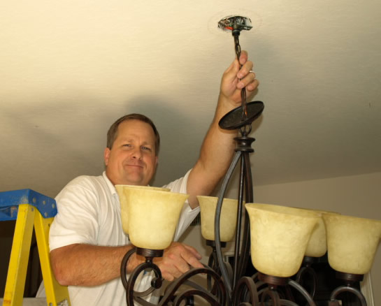 Lighting Camarillo Electrical Contractor Installing Chandelier